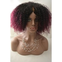 Handmade wig 14 - afro kinky (kinky curl) - natural color & burgundy - exclusive - available immediatly