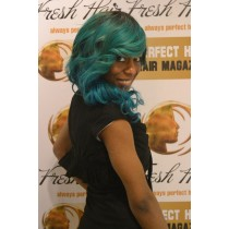 Handmade wig 7 - straight - hair color turquoise & alpine green- exclusive - available immediatly