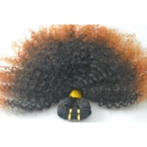 10 until 24 inch - Brazilian hair - afro kinky (kinky curl) - natural hair color & copper orange - exclusive - in stock
